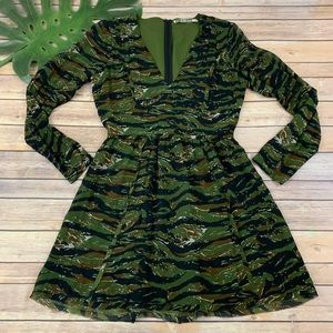 Pam & Gela green camo print long sleeve silk dress